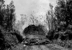 Spatter cone and lava on Pāhoa—Kalapana Road, March 14, 1955.  HVO photo by Gordon A. Macdonald.