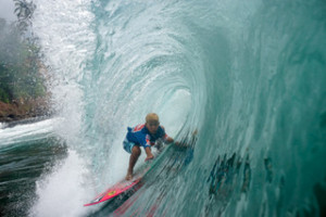 Surfer Ocean Donaldson Sargis at Honolii Beach. Courtesy of Kai Bradley